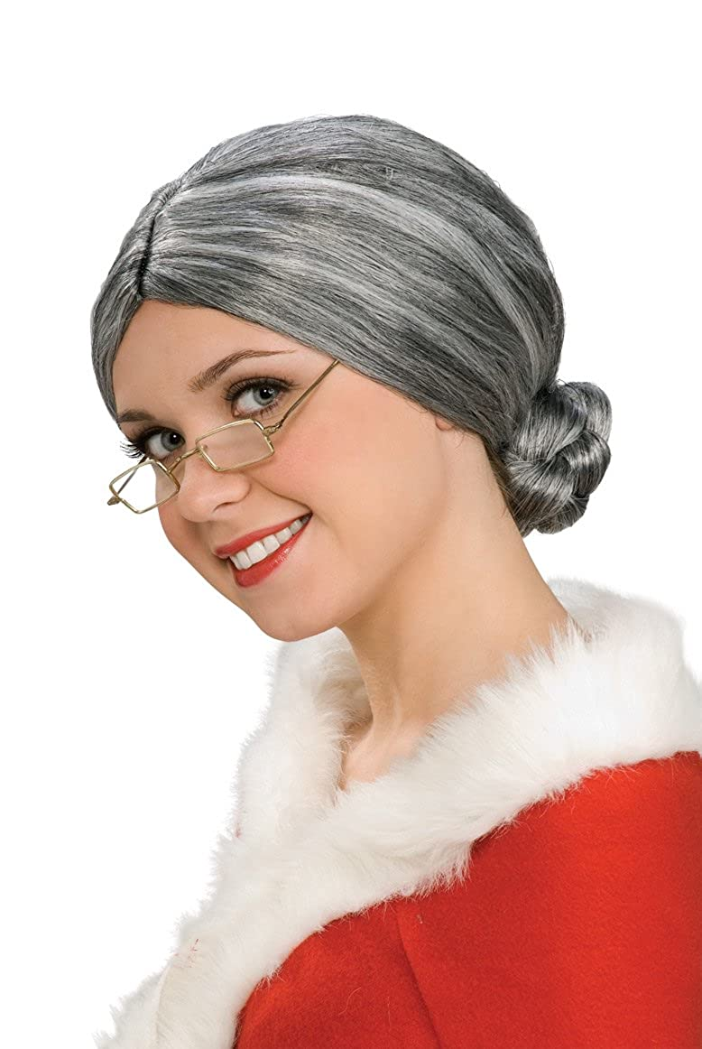 Amazon.com: Rubie's Characters Old Lady / Mrs. Santa Wig, One Size ...