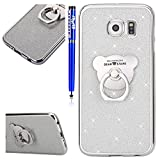 Samsung Galaxy S6 Case,Samsung Galaxy S6 Cover,Samsung Galaxy S6 Glitter Case,EUWLY [Cute Bear 360 Degree Rotating Ring Stand Holder] Protective Rubber Case for Samsung Galaxy S6 Flexible Soft Gel Silicone Case Cover Anti-Shock Anti-Scratch Ultra-Thin Slim Premium Soft Rubber Silicone TPU Protective Sleeve Case for Samsung Galaxy S6 + 1 x Stylus Pen,Silver