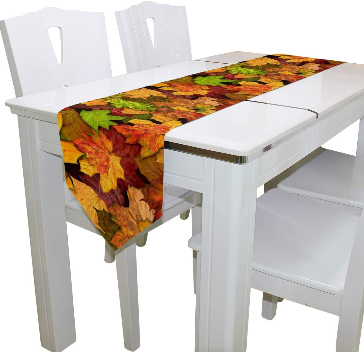 TFONE Autumn Fall Maple Leaf Table Runner Durable Polyester Fabric Table Runners for Kitchen Dinner Holiday Wedding Parties Decor 13 x 70 Inches Long