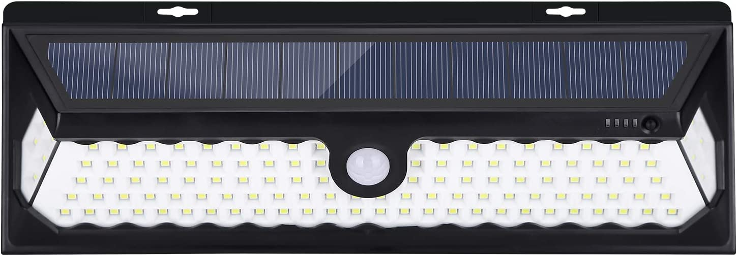 JSUNCK 118 LED Solar Lights Outdoor, Enhanced Super Bright Solar Motion Sensor Light with Front Switch, Wireless Wide Angle Waterproof Security Solar Light for Back Yard, Fence, Deck.