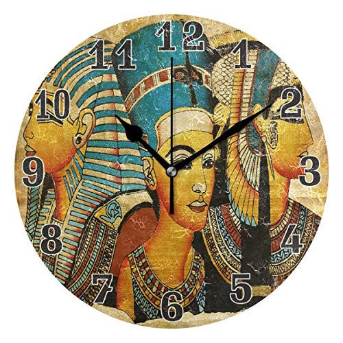luckY-zm Large Arabic Digital Quartz Movement Clock-Ancient Egyptian Parchment Round Wall Clock, Silent Non Ticking Painting for Kids Bedroom Living Room Office School Home Decor-size10in