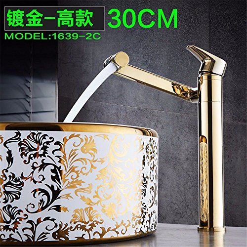 (Gyps Faucet Basin Mixer Tap Waterfall Faucet All copper single hole basin faucet hot and cold basin rotary hand wash basin Mixer Taps Gold,Modern Bath Mixer Tap Bathroom Tub Lever Faucet)