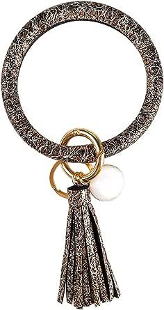 Leather Bracelet Key Ring Bangle Keyring, Tassel Ring Circle Key Ring Keychain Wristlet for Women Girls – Free Your Hands