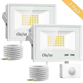Olafus 2 Paquetes 35W Foco LED con Sensor de Movimiento, 3800LM ...