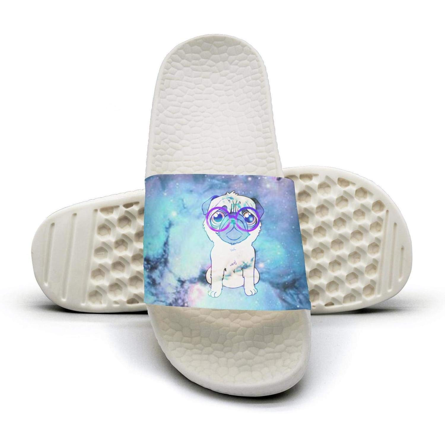 glasses Pug galaxy starry sky Man fashion popular Summer Sandals Slides Mules Slippers