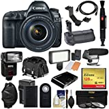 Canon EOS 5D Mark IV 4K Wi-Fi Digital SLR Camera & 24-105mm f/4L IS II USM Lens + 128GB CF Card + Battery & Charger + Grip + Case + Flash + LED Light + Mic Kit