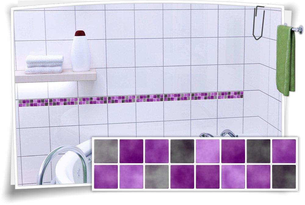 Fliesenaufkleber Fliesenbordüre Bordüre Mosaik Lila Grau Aufkleber FB3, 20 Stück, Stück, Stück, 30x7,8cm (BxH) B0746J3T53 Aufkleber a22364