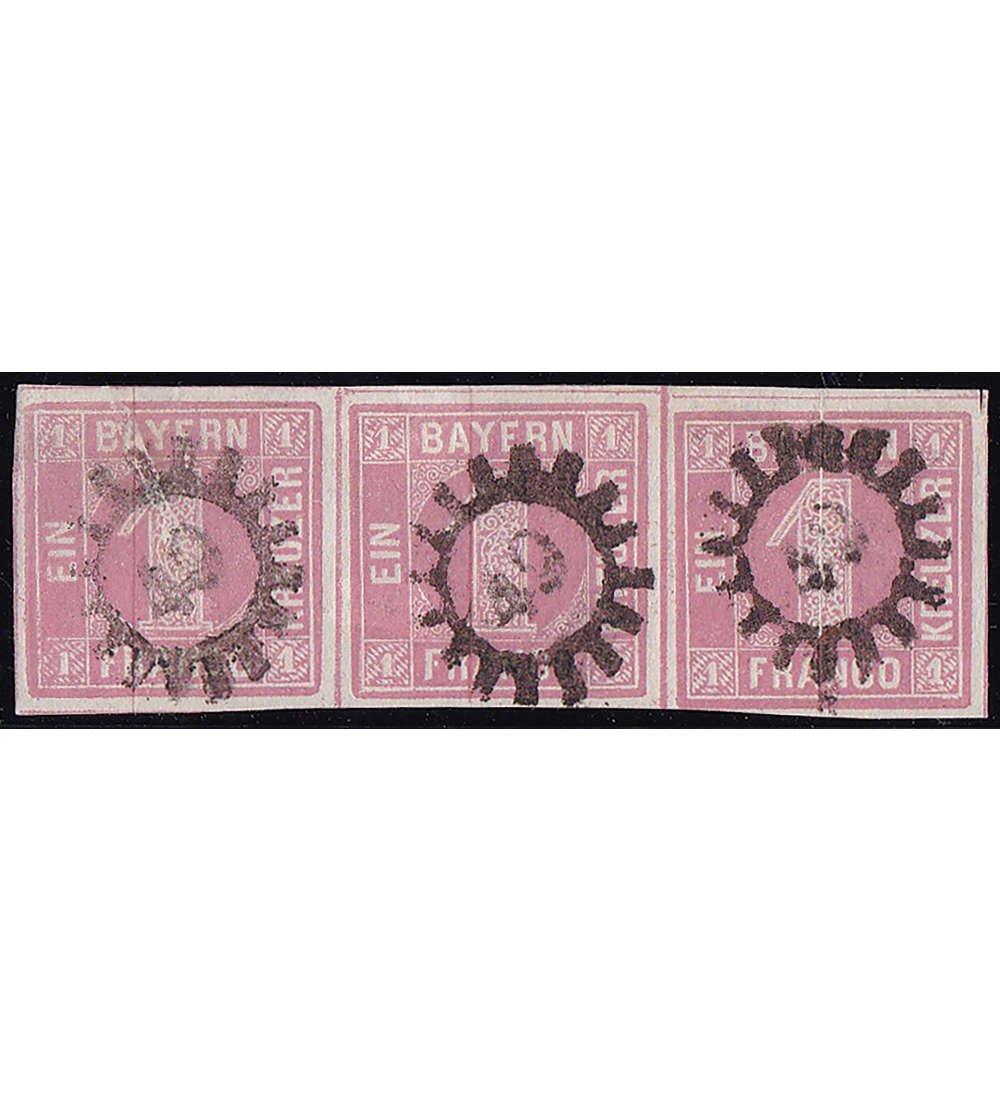 Goldhahn Bayern Nr. 3 gestempelt gestempelt gestempelt waagerechter 3er-Streifen Briefmarken für Sammler e6c8b5