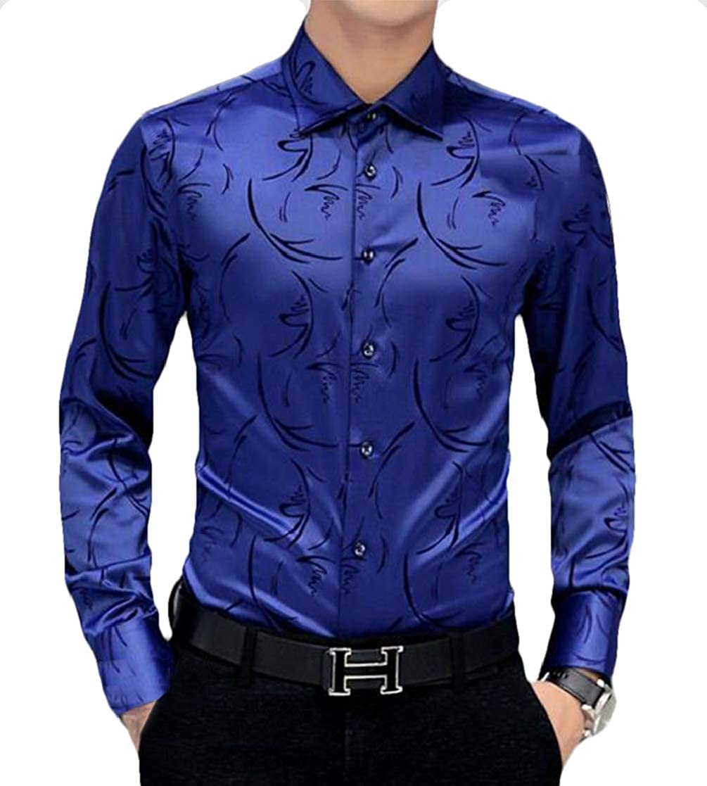 Jofemuho Mens Slimming Casual Plus Size Business Long Sleeve Shirts