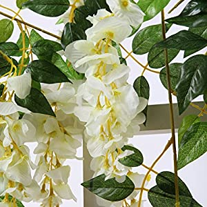 Kuqqi 3.6 Feet Artificial Silk Wisteria Vine Ratta Silk Hanging Flower Wedding Decor,6 Pieces,(White) 3