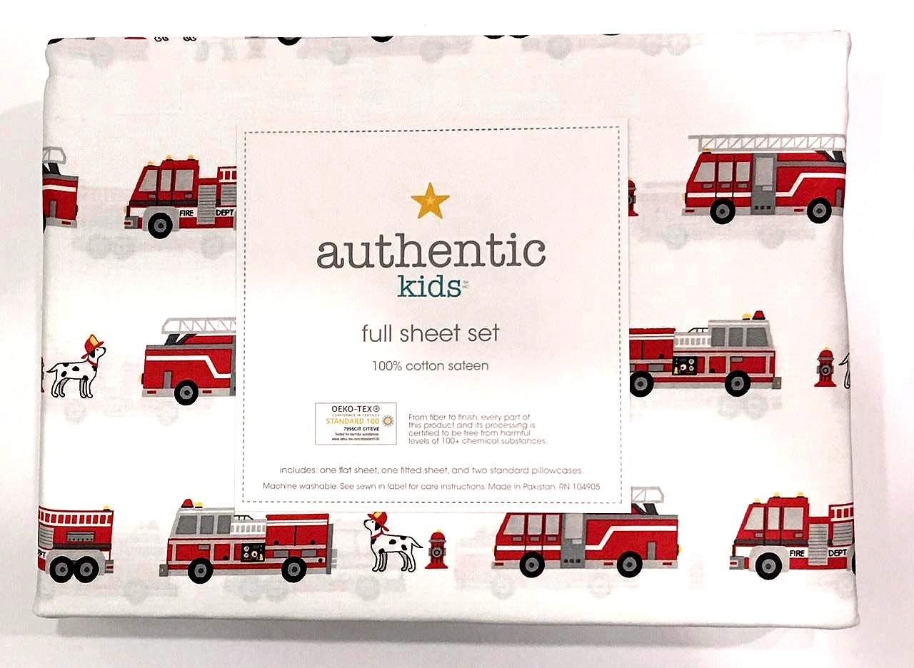 Authentic Kids 4 Piece Full Sheet Set Red Fire Trucks Fire Engines with Dalmatian Fire Dogs   100% Cotton Sateen
