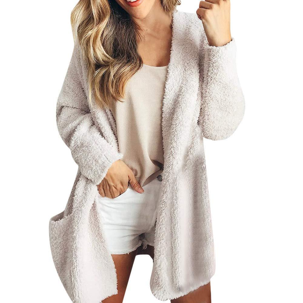 Women Coat Franterd Fall Winter Wool Elegant Solid Sweatshirt Cardigan Top Ladies Warm Fleece Jacket with Pockets Franterd Women