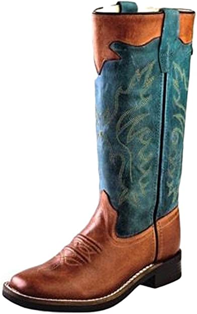 Old West Childrens Girl Western Cowboy Boots Embroidery Broad Square Toe Pink