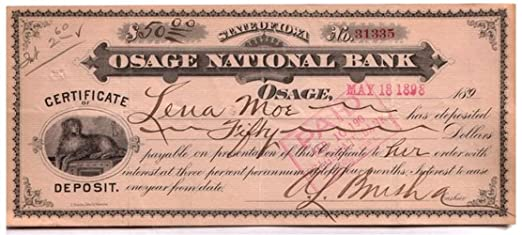 1895 SPECTACULAR LARGE ORIGINAL 1890\'s OSAGE IOWA CERTIFICATE OF ...