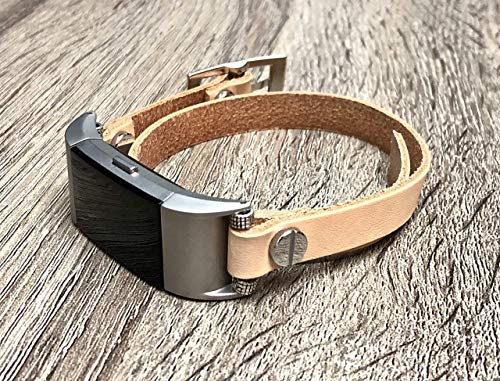 Tan Leather Women Bracelet for Fitbit Charge 2 Band Double Wrap Handmade Fitbit Charge 2 Band Fitbit Charge 2 Jewelry Bracelet Handcrafted Adjustable Fitbit Leather Band for Women ()