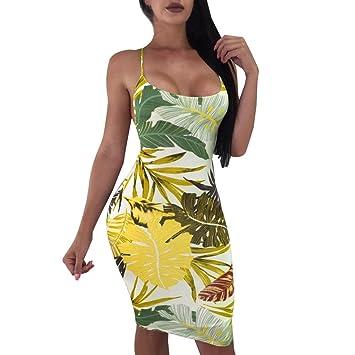 Vestido de verano para mujer, LILICAT® 2018 Vestido sin mangas con estampado sin mangas