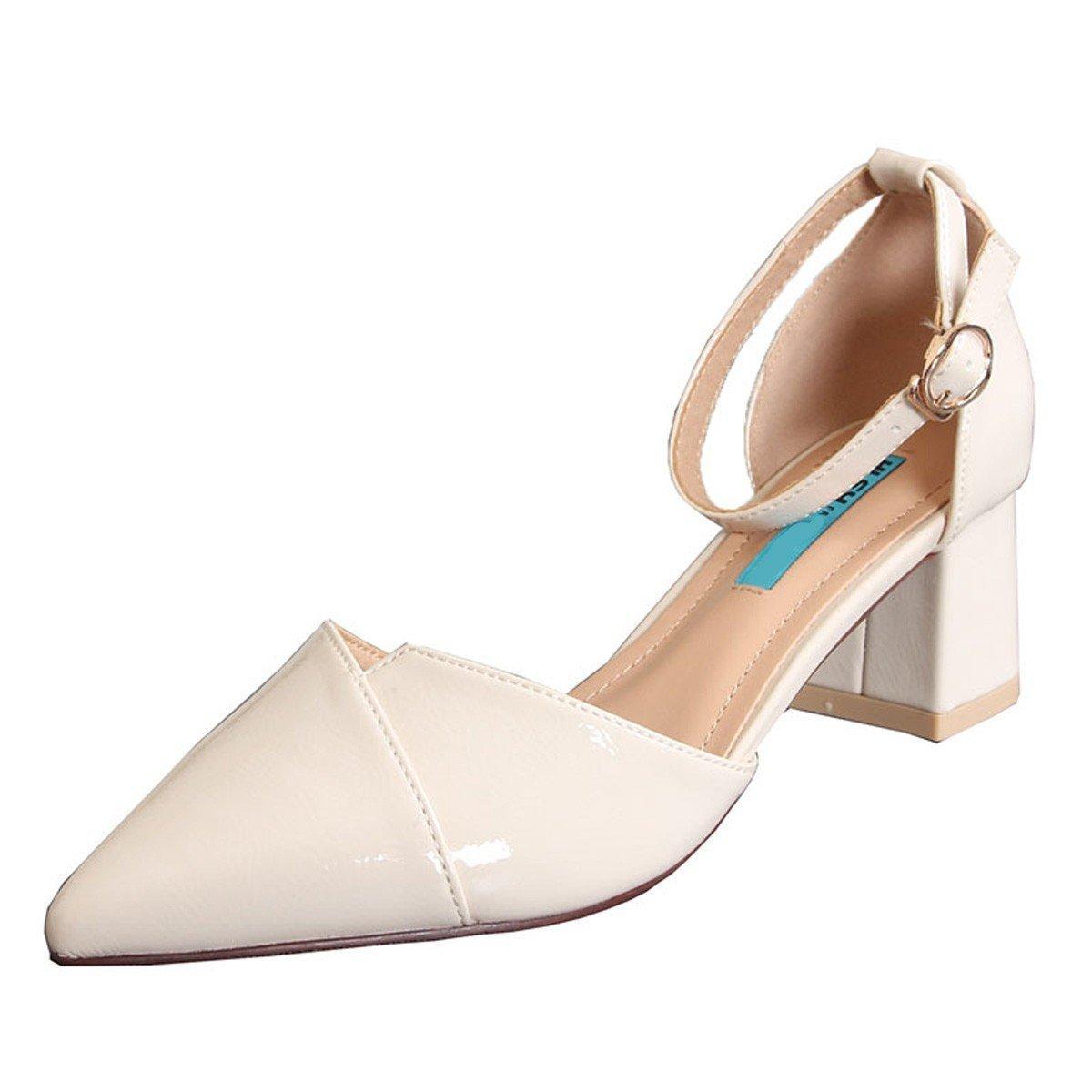 Zapatillas Sandalias Zapatos  Un Solo botón, Tacones Altos de 6 cm, Simple y Generoso, Grueso con Zapatos Individuales, Hembra, Punta Hueca, Primavera 36 EU|Beige