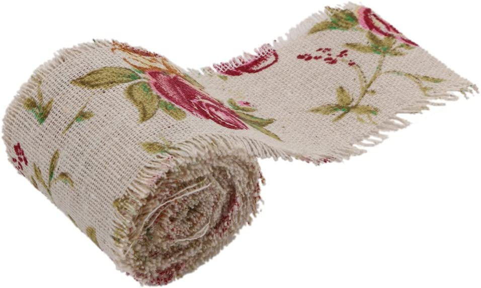 Whitelotous 10M DIY Natural Jute Vintage Print Burlap Rolls Ribbon with Floral Roses for Home Decor