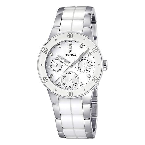 Festina Damen-Armbanduhr XS Trend Multifunktion Ceramic Analog Quarz verschiedene Materialien F16530...