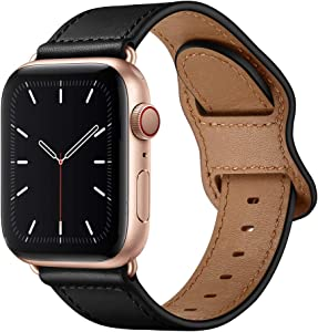 KYISGOS Compatible with iWatch Band 40mm 38mm 44mm 42mm, Genuine Leather Replacement Band Strap Compatible with Apple Watch SE Series 6 5 4 3 2 1 (Black/Rose Gold, 40mm/38mm)