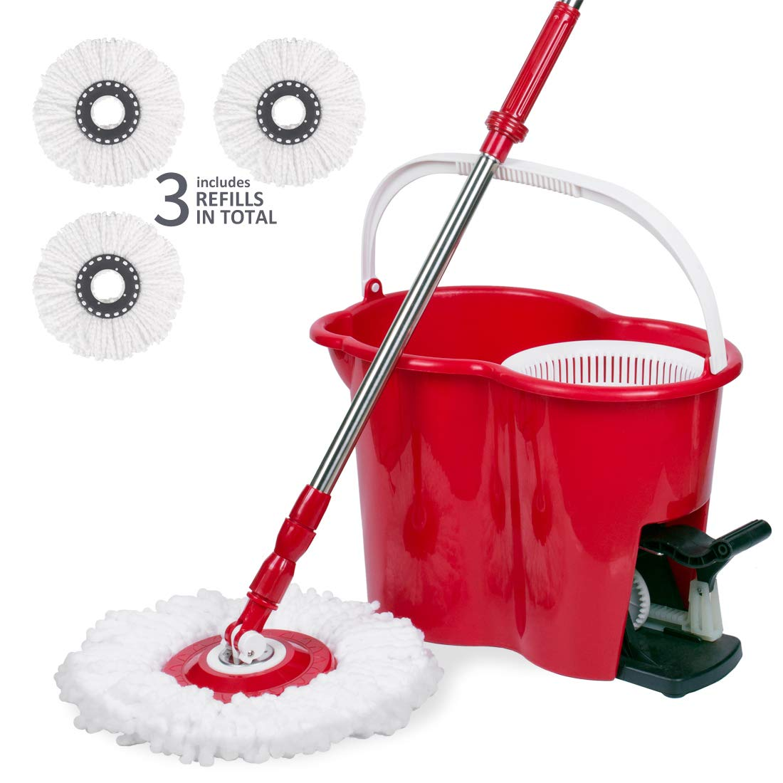 Spin mop with Bucket and Foot Pedal, Self Washing & Drying, 360° Spinning Mop Head for Easy Floor Cleaning, Thickened Sturdy Stable Bucket with Carry Handle, 3 Mop Heads Included, Red