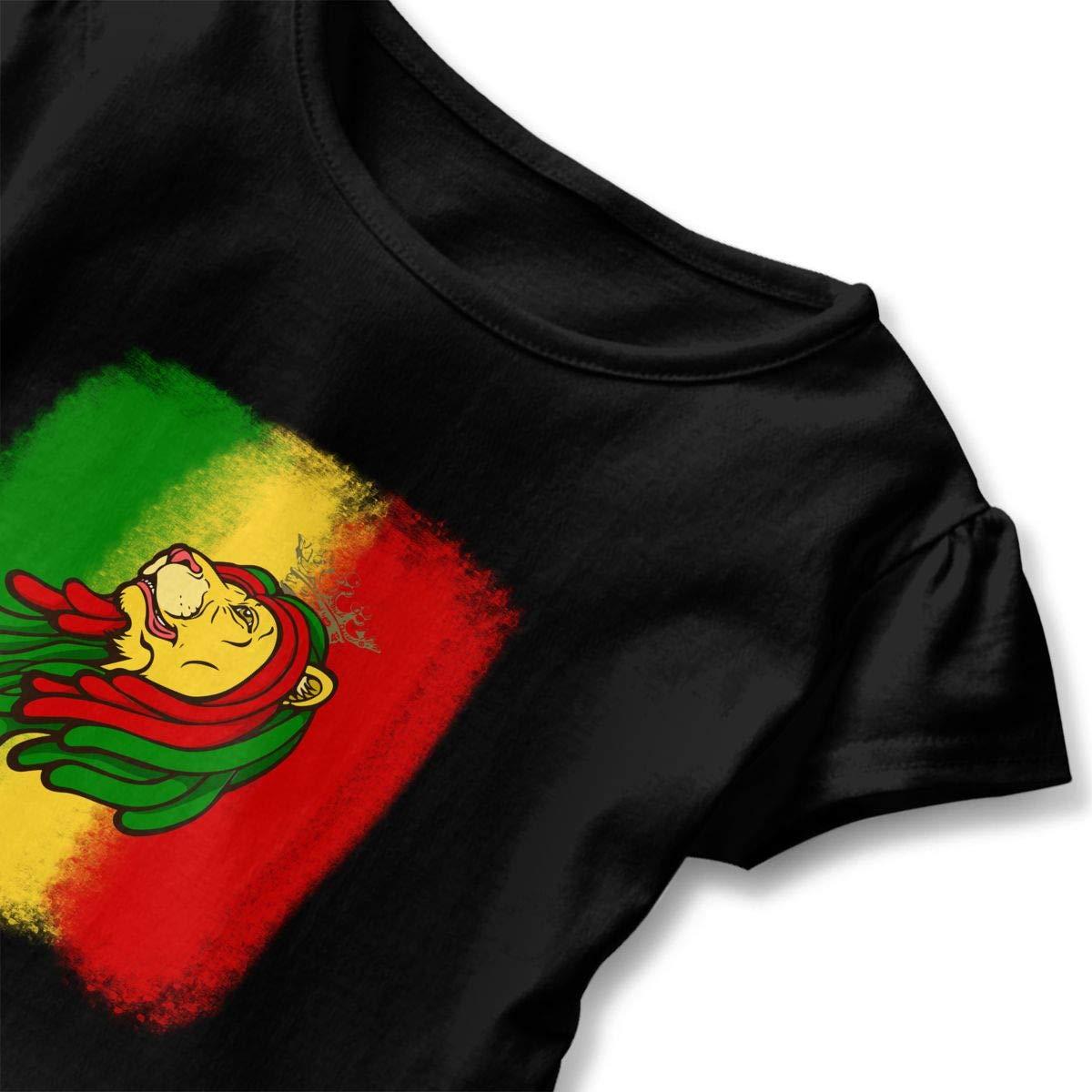 Clarissa Bertha Jamaica Reggae Band Lion Toddler Baby Girls Short Sleeve Ruffle T-Shirt