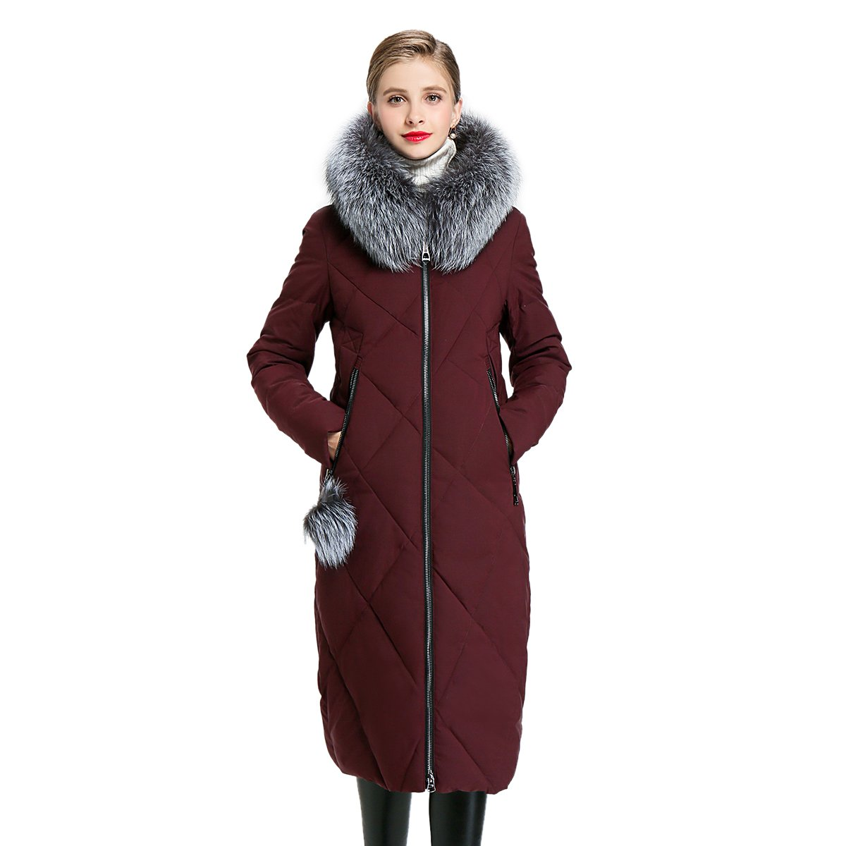 Womens Winter Hooded Thick Coat Parka Style Jackets Fashion Fur Collar Coat Y170012 by EURASIA