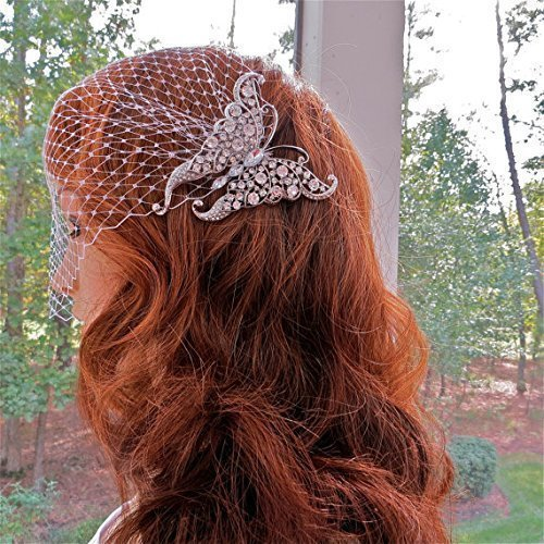 Deco Style Butterfly Bridal Veil, Bandeau Wedding Veil for Bride by cmtjewelrly