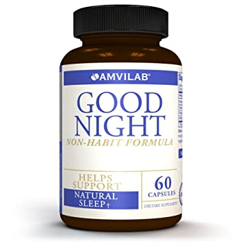 Amvilab GOOD NIGHT- All Natural Non-Habit Forming Sleep Aid Supplement. Exclusive Formula