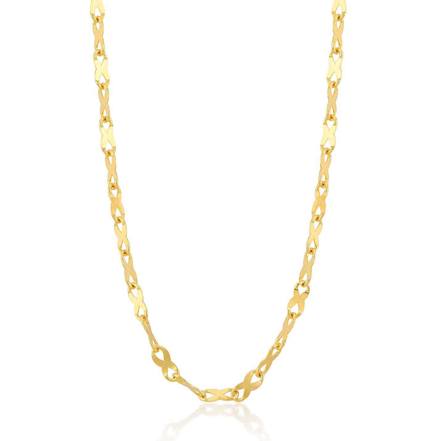 14k Real Gold 2.0 mm Flat Link Mirror Chain Necklace for Women and Men - with Gold Certificate and Lovely Box, 18 inch Gelin Diamond GLN100334