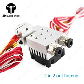 Zamtac Chimera Extruder Double Nozzle Remote 2 in 2 Out Hotend Kits 0.4mm 1.75mm Multi-Extrusion V6 Dual Head Print kit 3D Printer Part - (Size: 0.4mm)