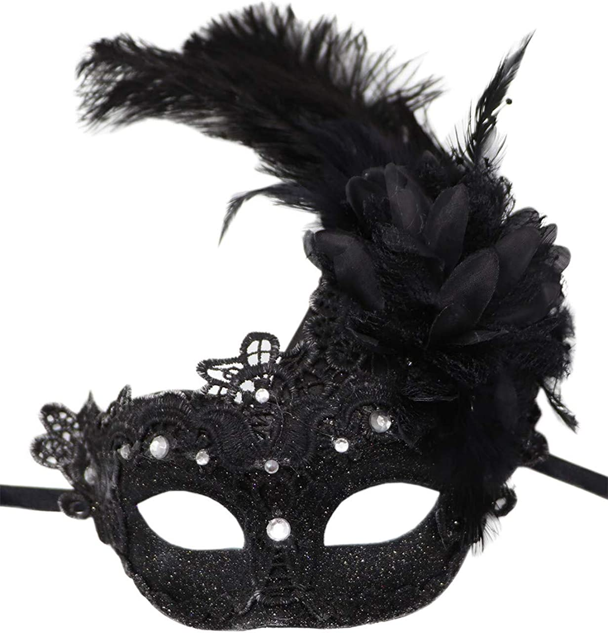 Women's Feather Masquerade Mask Venetian Halloween Mardi Gras Costumes Party Ball Prom Mask