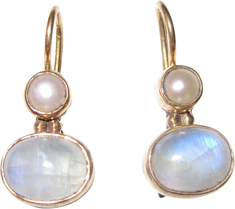 Pequeños pendientes de piedra de luna de color azul claro con perla de agua dulce colgante, de plata chapada en oro, hecho a mano, retro, vintage, ejemplar único, Italia, regalo ligero