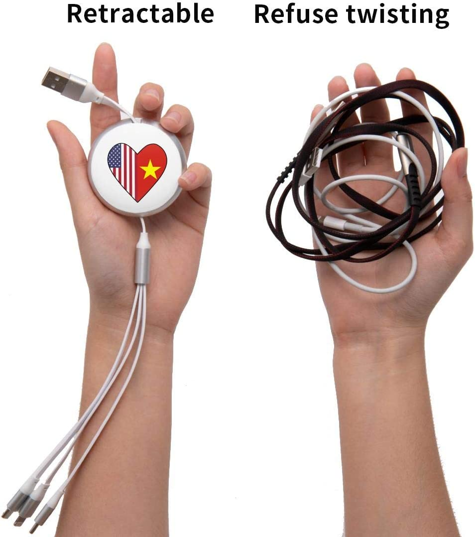 Half Vietnam Flag Half USA Flag Love Heart 3-in-1 Retractable Round Data Cable Multi 3A Charging Cable with Type-C Most Smart Phones /& Pads