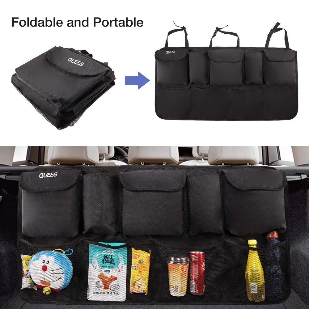 QUEES Car Trunk Organizer Upgrade Super Capacity Auto SUV Van Container Organization Collapsible Compartment Pocket Mesh Hanging Tidy Storage Bag with Lids Space Saving Black