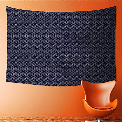 Printsonne Horizontal Version Tapestry Abstract Geometric Woven Circles Seamless in Navy Blue and White Throw, Bed, Tapestry, or Yoga Blanket 84W x 54L Inch ()