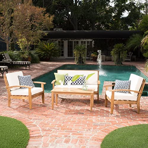 GDF Studio Preston 4 Piece Wood Outdoor Patio Seating Chat Set w Beige Cushions