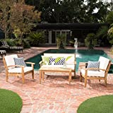 Cheap GDF Studio Preston 4 Piece Wood Outdoor Patio Seating Chat Set w/Beige Cushions
