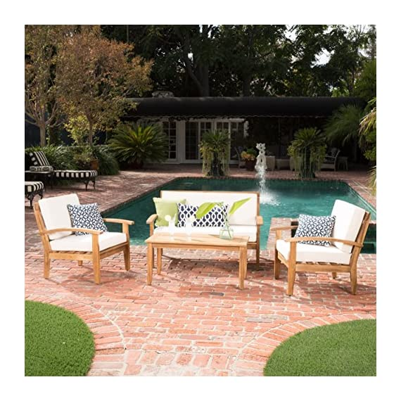 GDF Studio Preston 4 Piece Wood Outdoor Patio Seating Chat Set w/Beige Cushions - Includes: Two (2) Club Chairs, One (1) Loveseat, and One (1) Table Club Chair Dimensions: 32.50 inches deep x 28.00 inches wide x 31.25 inches high Seat Width: 22.75 inches Seat Depth: 23.25 inches Seat Height: 16.75 inches Arm Height: 22.50 inches Loveseat Dimensions: 32.50 inches deep x 50.75 inches wide x 31.25 inches high Seat Width: 45.50 inches Seat Depth: 23.25 inches Seat Height: 16.75 inches Arm Height: 22.50 inches - patio-furniture, patio, conversation-sets - 615YJevbsKL. SS570  -
