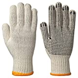 Pioneer V5060910-M Knitted Work Glove, Dots on Palm, (Pack of 12) Unbleached