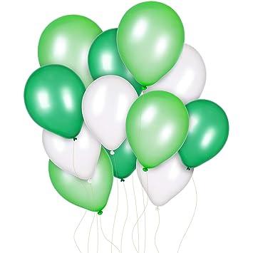 Jovitec 300 Piezas 12 Pulgadas de Globos Blanco Verde Claro y Verde Oscuro para Decoración de Cumpleaños Boda Fiesta Primavera Fiesta de Dinosaurio ...