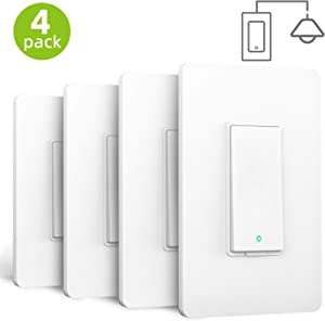 meross Smart Light Switch Compatible with Alexa, Google Assistant and SmartThings, Needs Neutral Wire, Single Pole WiFi Wall Switch, Remote Control, Schedules, No Hub Needed, 4 Pack