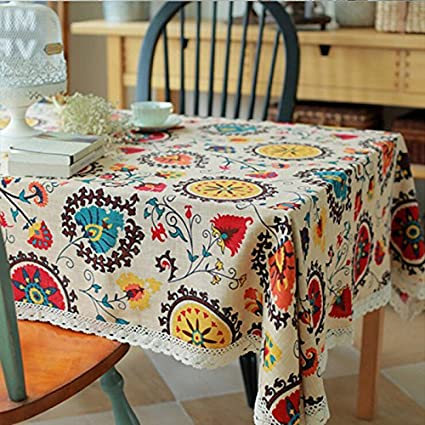 RISHIL WORLD Sun Flower Cotton Linen Tableware Mat Table Runner Tablecloth Desk Cover Heat Insulation Bowl Pad