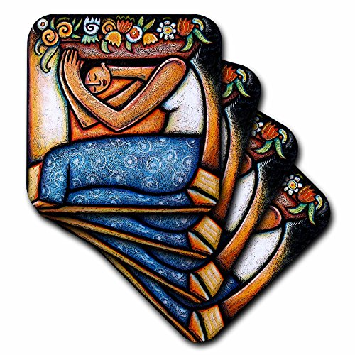 3dRose LLC Flower Girl Mexican Art Colorful Ceramic Tile Coaster, Set of 4