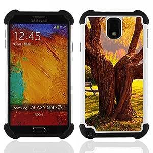 /Skull Market/ - Retro Tree SunShine For Samsung Galaxy Note3 N9000 N9008V N9009 - 3in1 h????brido prueba de choques de impacto resistente goma Combo pesada cubierta de la caja protec -