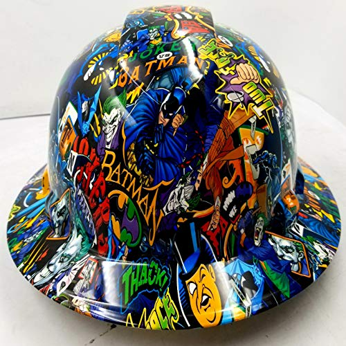 Wet Works Imaging Customized Pyramex Full Brim Batman VS Joker Hard HAT with Ratcheting Suspension Custom LIDS Crazy Sick Construction PPE