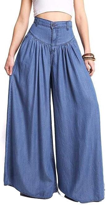 Pantalones De Pierna Ancha De Mujer Pantalones Palazzo De Talle Alto Casual De Talla Grande Amazon Es Ropa Y Accesorios