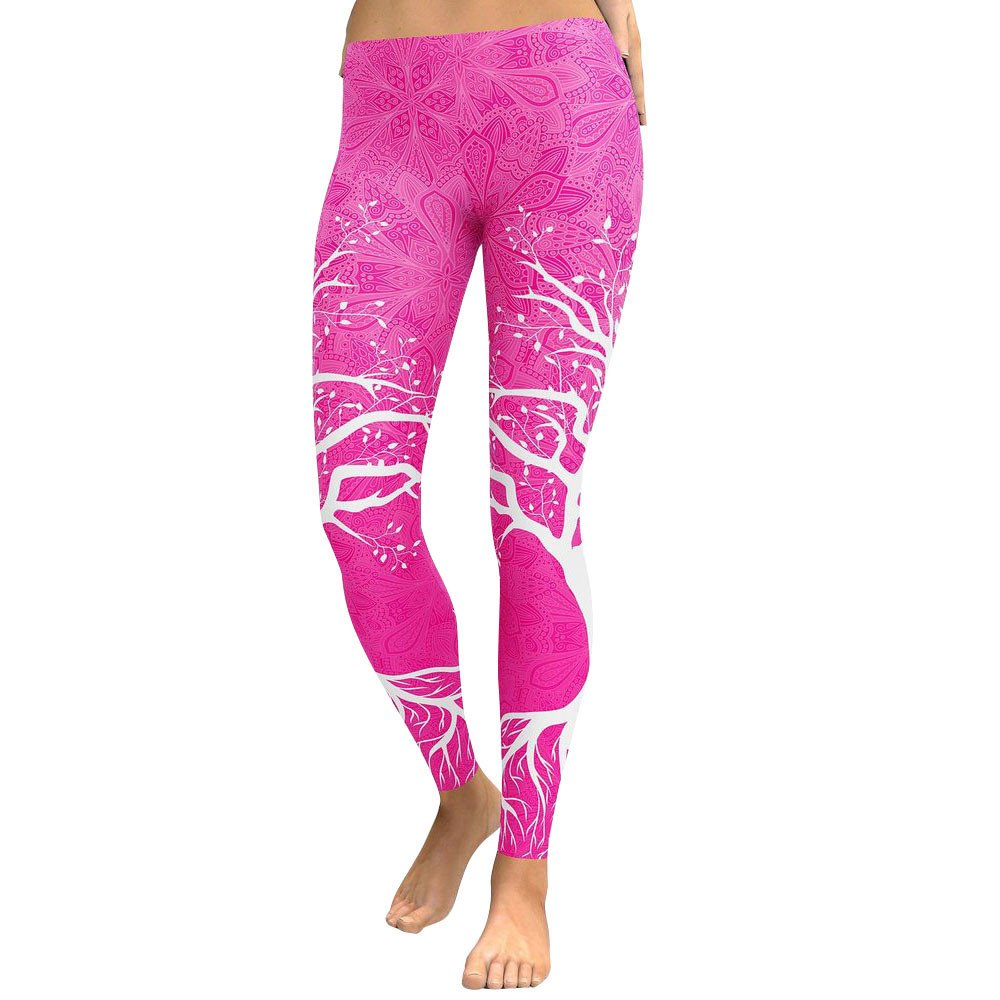 pengchengxinmiao Women Yoga Leggings Running Sports Pants Branch Print High Waist Stretch Tight Skinny Slim Breathable Fitness Trousers (Hot Pink, L)