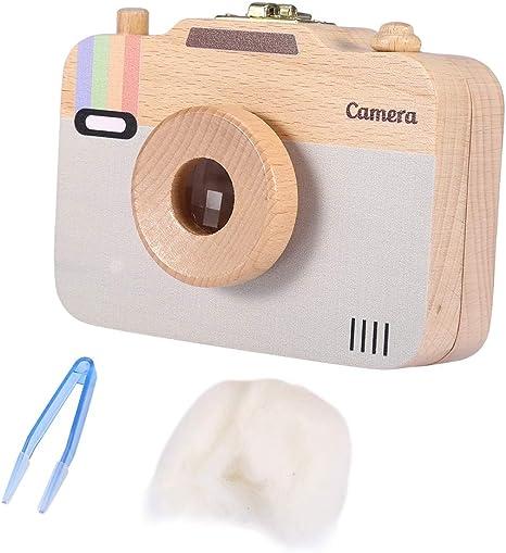 Caja de almacenamiento de madera, estuche lindo de la cámara del recuerdo del patrón-patrón para los dientes de leche y el pelo del bebé(Gris): Amazon.es: Bebé