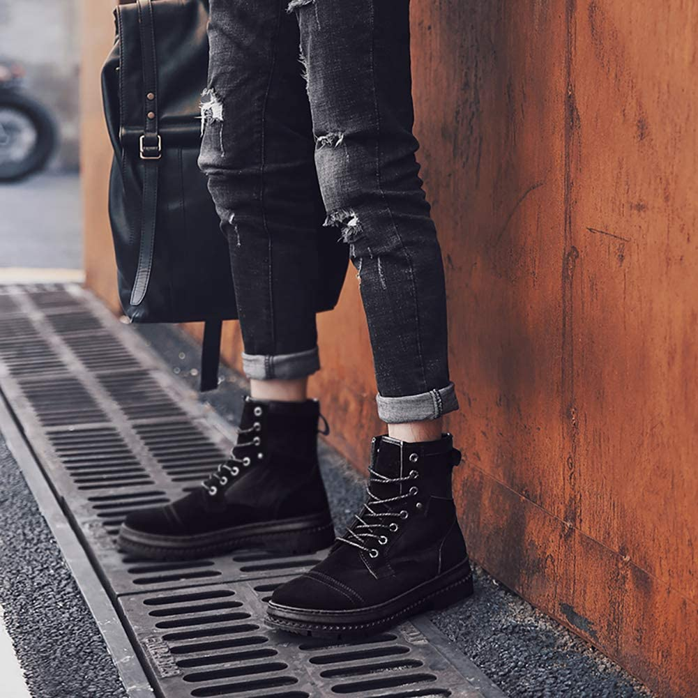 KUIBU Mens Lace up Anti-Slip Waterproof Hiking Military Combat Outdoor Martin Booties Motorcycle Shoes